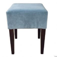 Clarke Wooden Low Stool with Upholstered Seat